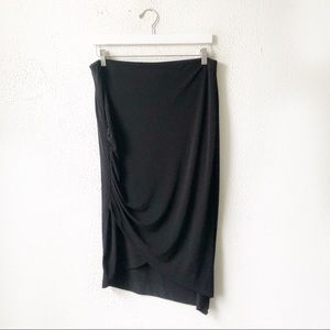Bisou Bisou   Black Asymmetrical Ruched Skirt L